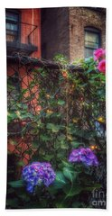 Beach Towel featuring the photograph Paradise By The Backyard Gate - City Garden by Miriam Danar