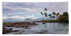 Beach Towel featuring the photograph Paradise Cove Lagoon by Heather Applegate