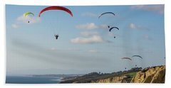 Paragliders At Torrey Pines Gliderport Over Black's Beach Beach Sheet