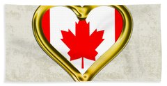 Parchment Background I Heart Canada Beach Towel