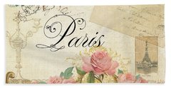 Parchment Paris - Timeless Romance Beach Sheet by Audrey Jeanne Roberts