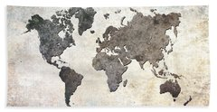 Beach Towel featuring the digital art Parchment World Map by Douglas Pittman