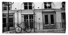 Beach Towel featuring the photograph Paris Bicycle Street Lanterns Architecture Black And White Art Deco - Paris Black White Home Decor by Kathy Fornal