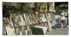 Paris Bookseller Stall Beach Sheet