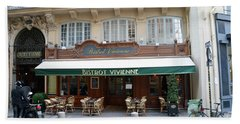 Beach Towel featuring the photograph Paris Cafe Bistro - Galerie Vivienne - Paris Cafes Bistro Restaurant-paris Cafe Galerie Vivienne by Kathy Fornal