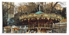 Paris Carousel At Montmartre - Sacre Coeur Cathedral Carousel Merry Go Round  Beach Towel