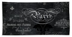 Beach Sheet featuring the painting Paris Chalkboard Typography 1 by Audrey Jeanne Roberts