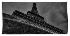 Beach Sheet featuring the photograph Paris - Eiffel Tower 001 Bw by Lance Vaughn