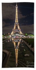 Paris Eiffel Tower Dazzling At Night Beach Sheet by Mike Reid