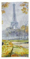 Paris Eiffel Tower From Trocadero Park Beach Sheet by Irek Szelag