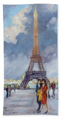 Paris Eiffel Tower Beach Sheet by Irek Szelag