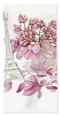Beach Towel featuring the photograph Paris Eiffel Tower Spring Magnolia Flower Blossoms - Paris Pink White Spring Blossoms  by Kathy Fornal