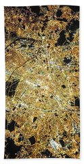 Paris From Space Beach Towel by Delphimages Photo Creations