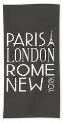 Beach Towel featuring the digital art Paris, London, Rome And New York Pillow by Jaime Friedman