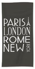 Paris, London, Rome And New York Pillow Beach Towel