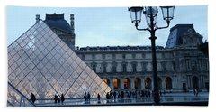 Paris Louvre Museum Pyramid Evening Dusk Blue Lights Lanterns Lamp Posts Beach Towel