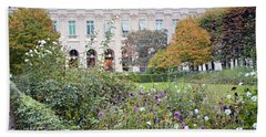 Beach Towel featuring the photograph Paris Palais Royal Gardens - Paris Autumn Fall Gardens Palais Royal Rose Garden - Paris In Bloom by Kathy Fornal
