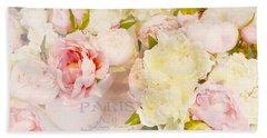 Paris Peonies Pink Yellow Peonies Floral Art - Dreamy Shabby Chic Paris Pink Yellow Peony Flowers Beach Towel