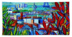 Paris Rooftops - View From Printemps Terrace   Beach Sheet by Mona Edulesco