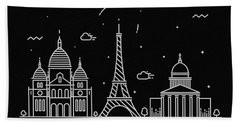 Paris Skyline Travel Poster Beach Towel