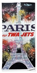 Paris - Twa Jets - Trans World Airlines - Eiffel Tower - Retro Travel Poster - Vintage Poster Beach Sheet