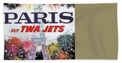 Paris - Twa Jets - Trans World Airlines - Eiffel Tower - Retro Travel Poster - Vintage Poster Beach Towel