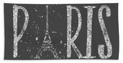 Paris Typography - Grey - Silver Splashes Beach Towel