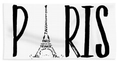 Paris Typography Beach Towel