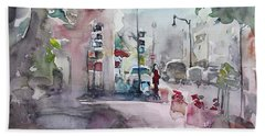 Beach Sheet featuring the painting Park Avenue 2 by Becky Kim