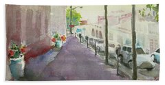 Beach Sheet featuring the painting Park Avenue 3 by Becky Kim