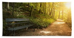 Park Bench In Fall Beach Towel by Chevy Fleet