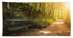 Park Bench In Fall Beach Sheet by Chevy Fleet