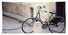 Parked In Paris - Bicycle Photography Beach Towel
