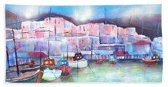 Greek Island Paros Naoussa Harbor Beach Towel