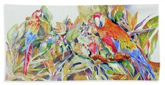 Beach Towel featuring the painting Parrots In Paradise by Mary Haley-Rocks