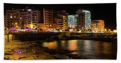 Particolored Midnight - Tower Road Waterfront In Sliema Malta Beach Towel