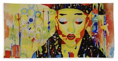 Beach Towel featuring the painting Party Girl by Cynthia Powell