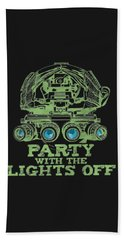 Beach Towel featuring the mixed media Party With The Lights Off by TortureLord Art