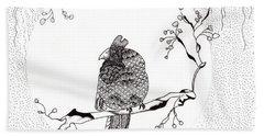 Party Time In Birdville Beach Towel by Jan Steinle