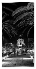 Beach Sheet featuring the photograph Pasadena City Hall After Dark In Black And White by Randall Nyhof