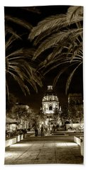 Beach Towel featuring the photograph Pasadena City Hall After Dark In Sepia Tone by Randall Nyhof