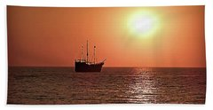 Beach Sheet featuring the photograph Passing By In Calm Waters by Joan  Minchak