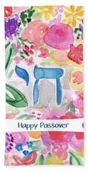 Beach Towel featuring the mixed media Passover Chai- Art By Linda Woods by Linda Woods
