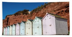 Beach Towel featuring the photograph Pastel-coloured Beach Huts by Lana Enderle