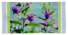 Pastel Green Field Flowers Beach Sheet