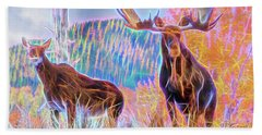 Pastel Moose Couple Beach Towel