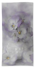 Pastel Pansies Still Life Beach Towel by Sandra Foster