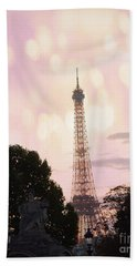 Beach Sheet featuring the photograph Pastel Paris Eiffel Tower Sunset Bokeh Lights - Romantic Eiffel Tower Pink Pastel Home Decor by Kathy Fornal