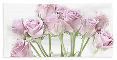 Pastel Pink Roses - Botanical Roses Floral Home Decor, Shabby Chic Pink Roses Beach Towel