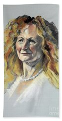 Pastel Portrait Of Woman With Frizzy Hair Beach Sheet